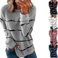 2021 women autumn sweatwear printed striped round neck sweatshirts loose long sleeve pullover girls sports clothing sport