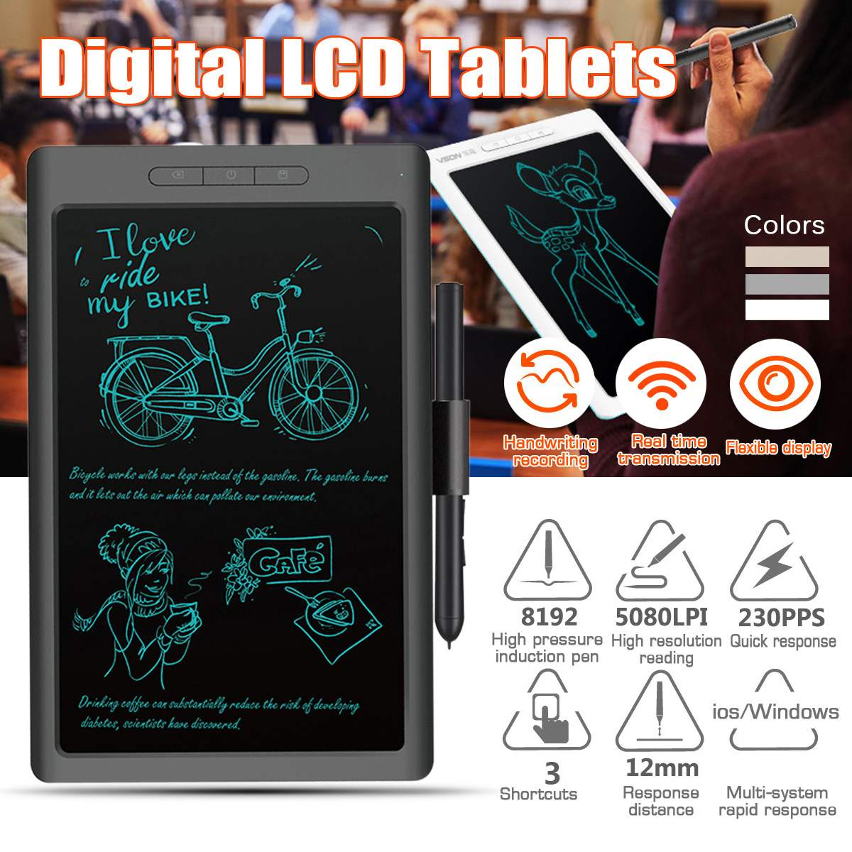 10 inch bluetooth USB LCD Digital Anime Drawing Online Learn Graphics Tablet with Digital Pen Writing Tablet for Android for MAC