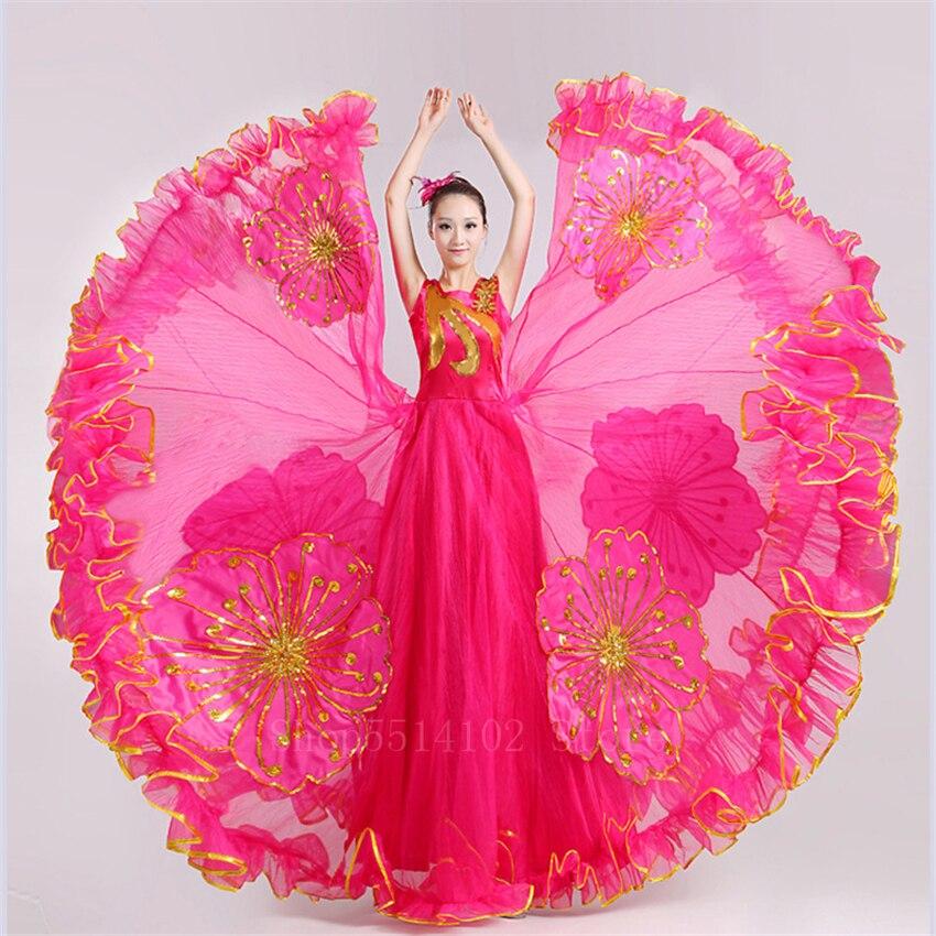 فستان رقص الفلامنكو 360/540/720 درجة ، زي رقص شرقي ، للنساء ، زي غجري وطني إسباني ، نمط الأزهار ، فستان شاش طويل