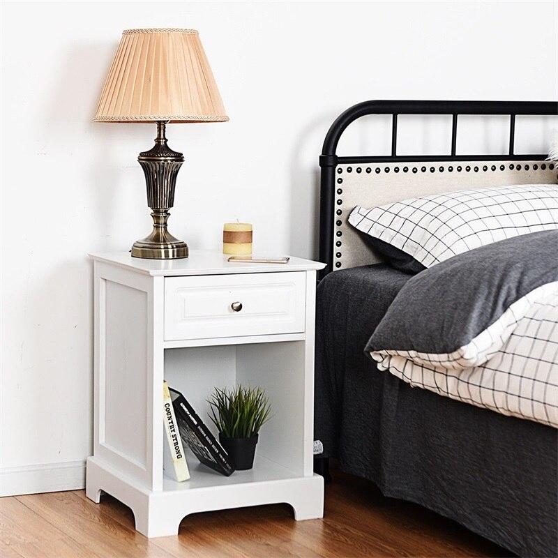 Mesa de almacenamiento para cabecera de cama, mesita de noche, muebles de dormitorio, mesitas de noche Mordern blancas y negras HW54866