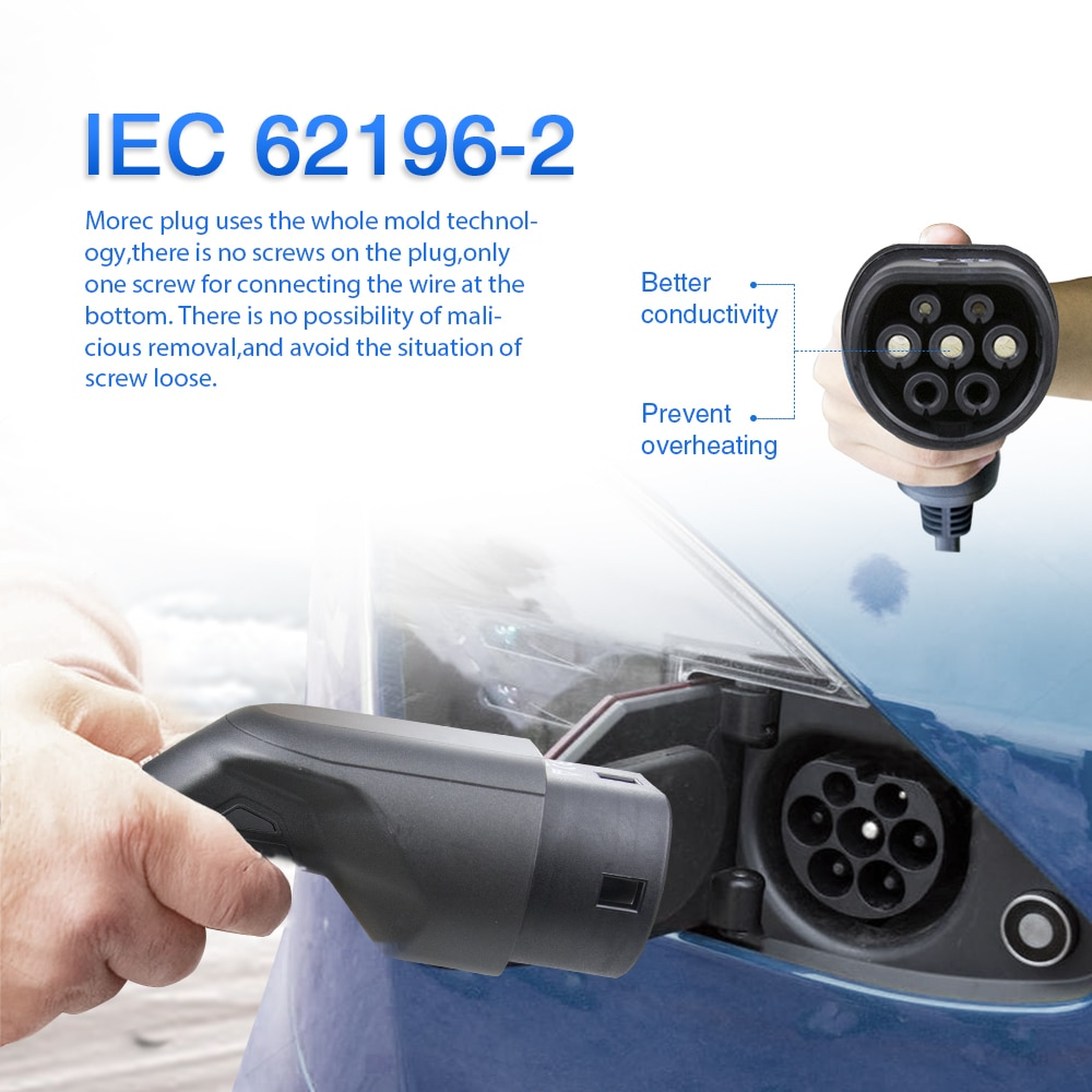 Morec EV Charging Cable 32A 22KW Three Phase Electric Vehicle Cord for Car Charger Station Type 2 Female to Male Plug IEC 62196 enlarge