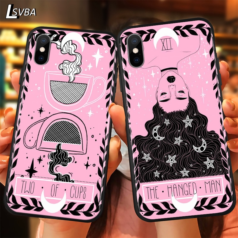 Bonito tarô rosa de luxo anti-queda caso de telefone para iphone 11 pro xs max x xr 6 s 7 8 plus 5S capa traseira macia
