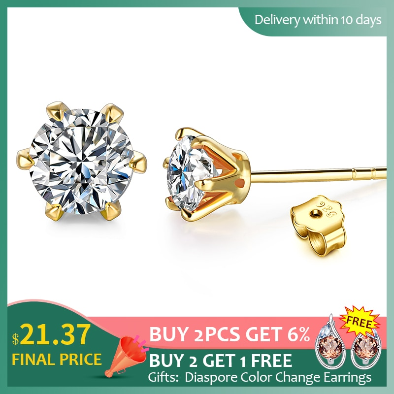 18K الذهب 0.5-1 قيراط D اللون مويسانيتي أقراط مرصعة بأحجار كريمة للنساء الصلبة 925 فضة سوليتير غرامة مجوهرات