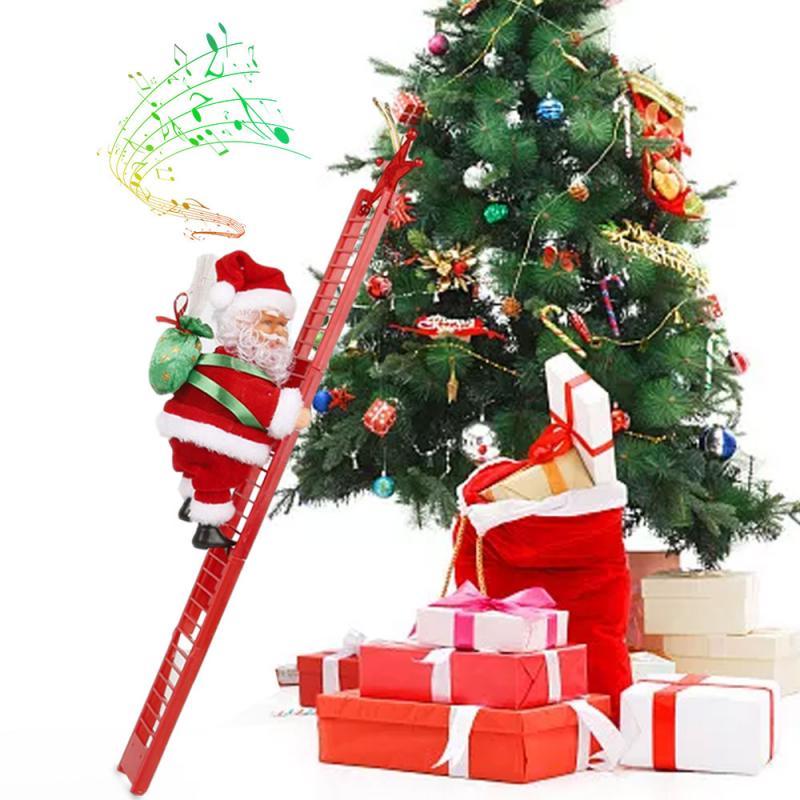 Новый Электрический Санта-Клаус альпинистская лестница кукла Рождественский Декор Детский подарок 2020 рождественские украшения для дома С...