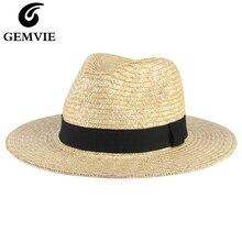 GEMVIE nouveau 2020 naturel Panama chapeau de paille chapeau dété pour femmes/hommes blé tissé large bord plage chapeau de soleil Protection UV