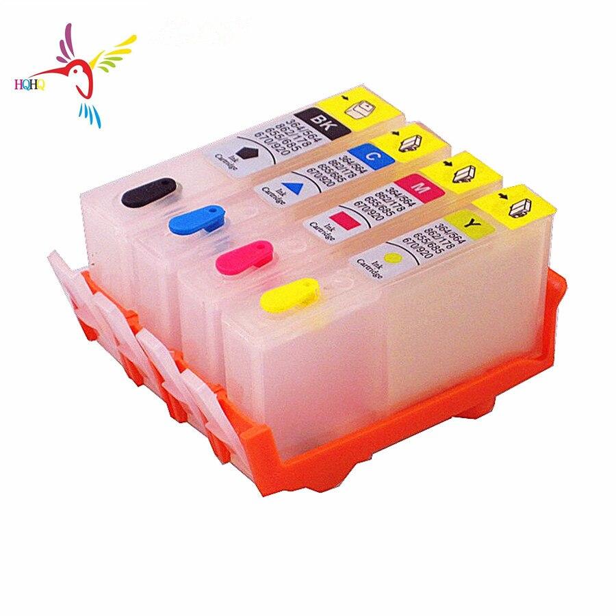 4 unids/set de recarga de tinta cartucho 670 de 920 con permanente chip para HP officejet 6000 6500 6500A 7000 7500 7500A impresoras
