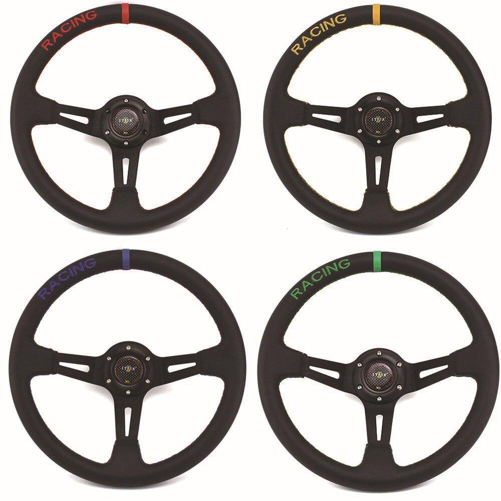 Volante Universal de carreras mugen, de piel auténtica, de 14 pulgadas, 350mm, rojo, para carreras de Rally y Drifting