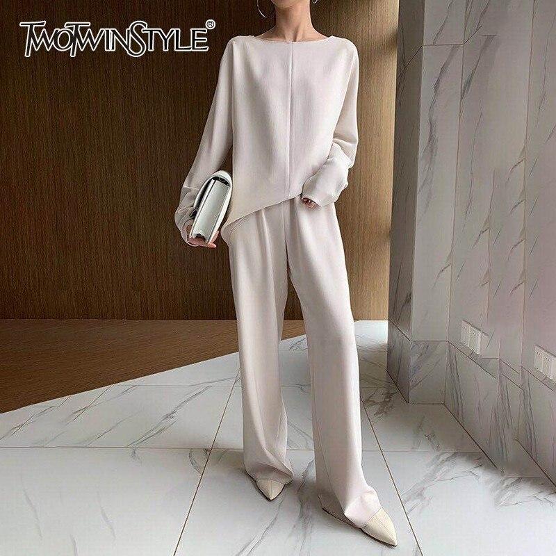 TWOTWINSTYLE sólido Casual conjunto de dos piezas para mujeres O cuello de manga larga pantalones de pierna ancha de cintura femenina trajes 2020 moda Otoño nuevo
