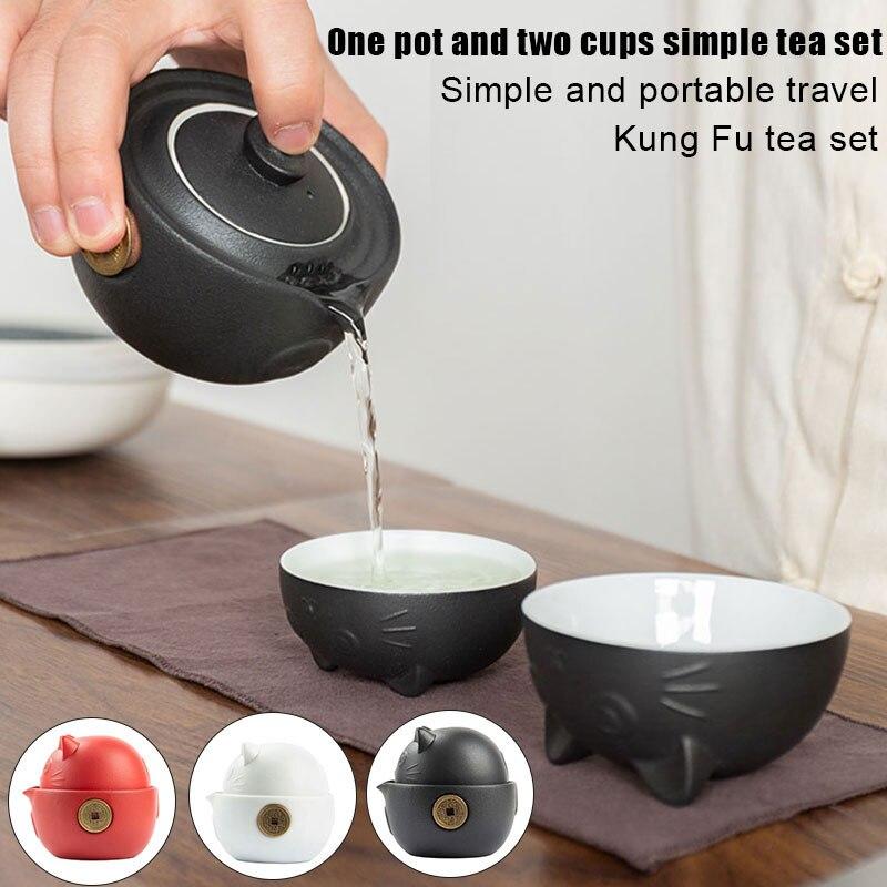 القط سلسلة السفر المحمولة طقم شاي من السيراميك مع براد شاي أكواب شاي حقيبة سفر للسفر مكتب المنزل