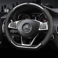 car carbon fiber leather steering wheel covers interior accessories 38cm for mercedes benz w204 w213 w212 w211 w176 car styling