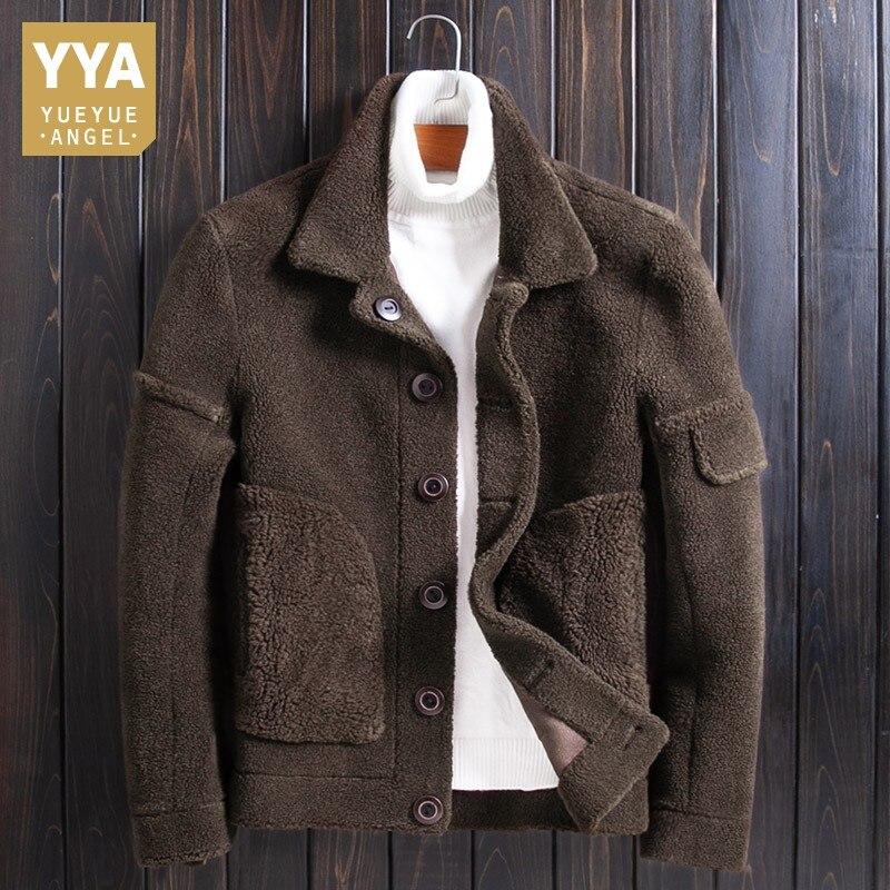 Chaqueta de piel Real Reversible para hombre, de lujo, de invierno, con una sola capa de abrigo, chaqueta de motorista de lana de cordero marrón, de talla grande 4XL