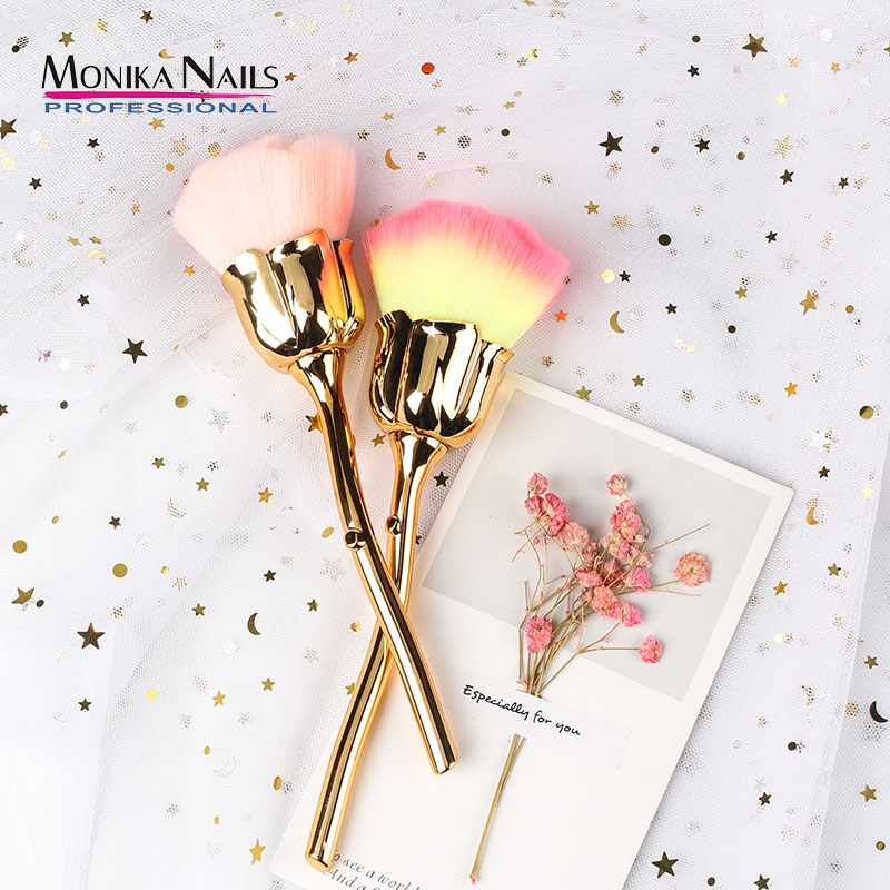 1 Pc Nail Art Brush Soft Clean Dust Powder Pink Rose Flower Shape Blush Foundation Powder Make Up Br