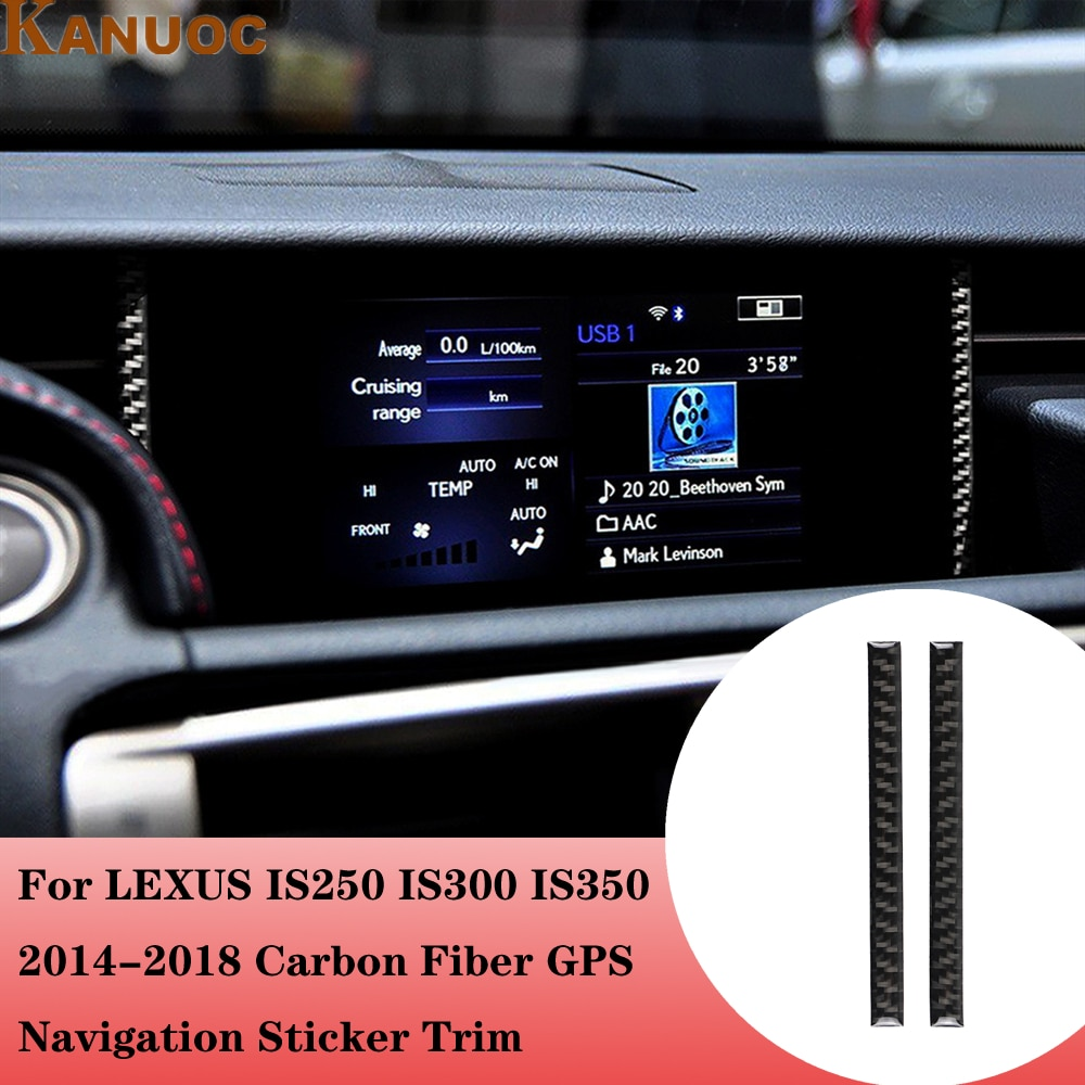 Para LEXUS IS250 IS300 IS350 2014-2018 coche navegador GPS marco pegatina de ajuste fibra de carbono decoración de estilo de coche