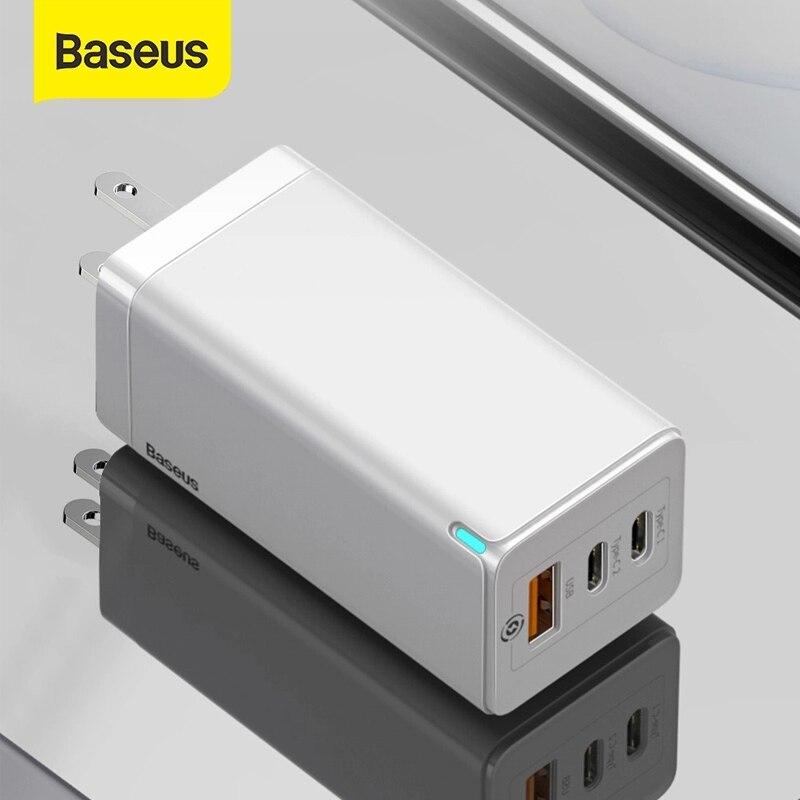 Baseus 65 واط غان شاحن USB سريع شاحن QC 4.0 PD3.0 آيفون 12 11 سامسونج هواوي شاومي شاحن الهاتف نوع c شاحن سريع