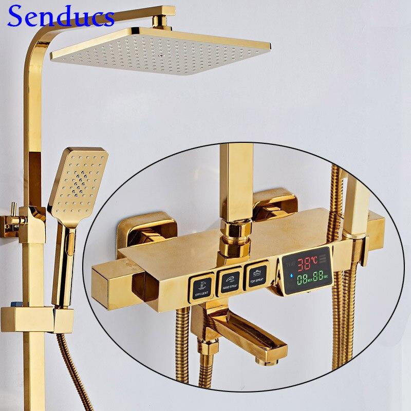Senducs-مجموعة دش رقمية للحمام ، نظام دش نحاسي عالي الجودة ، ثرموستاتي ، درجة حرارة