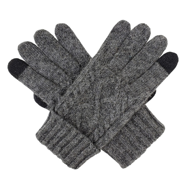 Bruceriver Men Wool Blended Touchscreen Gloves Unlined with Diamond Design
