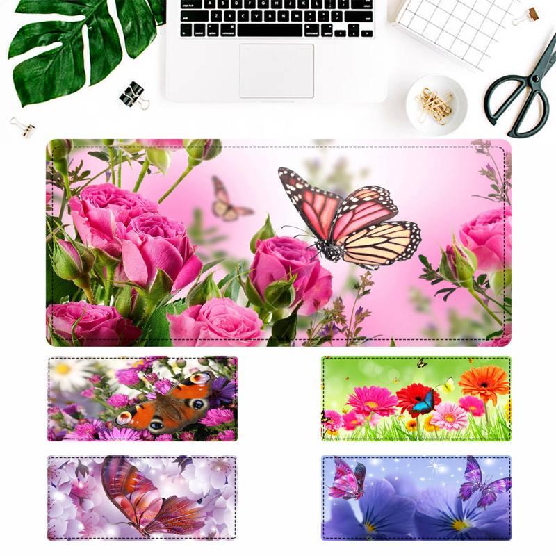 Рекламный коврик для мыши с цветами и бабочкой, игровой коврик для клавиатуры, Настольный коврик для мыши, игровые аксессуары для Overwatch