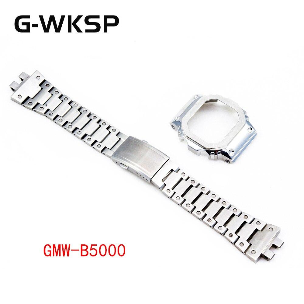 G-WKSP conjunto plateado GMW-B5000 correa de reloj accesorios modificación 100% caja de reloj de acero inoxidable/conjunto de actualización de bisel