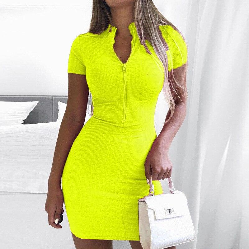 Zipper vestido de verão feminino, metade aberta, manga curta, decote em v, de fluorescência, verde, casual, básica, roupa de bandagem, 2020