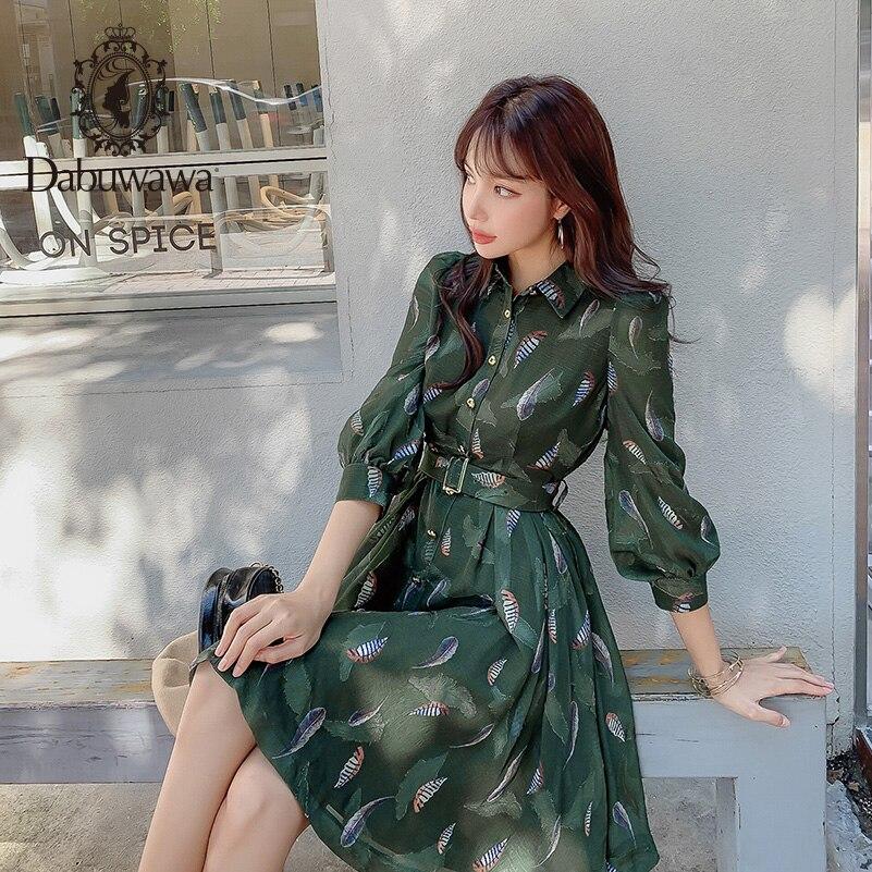 Dabuwawa elegante Metal botón detalle estampado vestido mujeres alta cintura linterna manga otoño Slim vestidos largos señora DN1CDR024