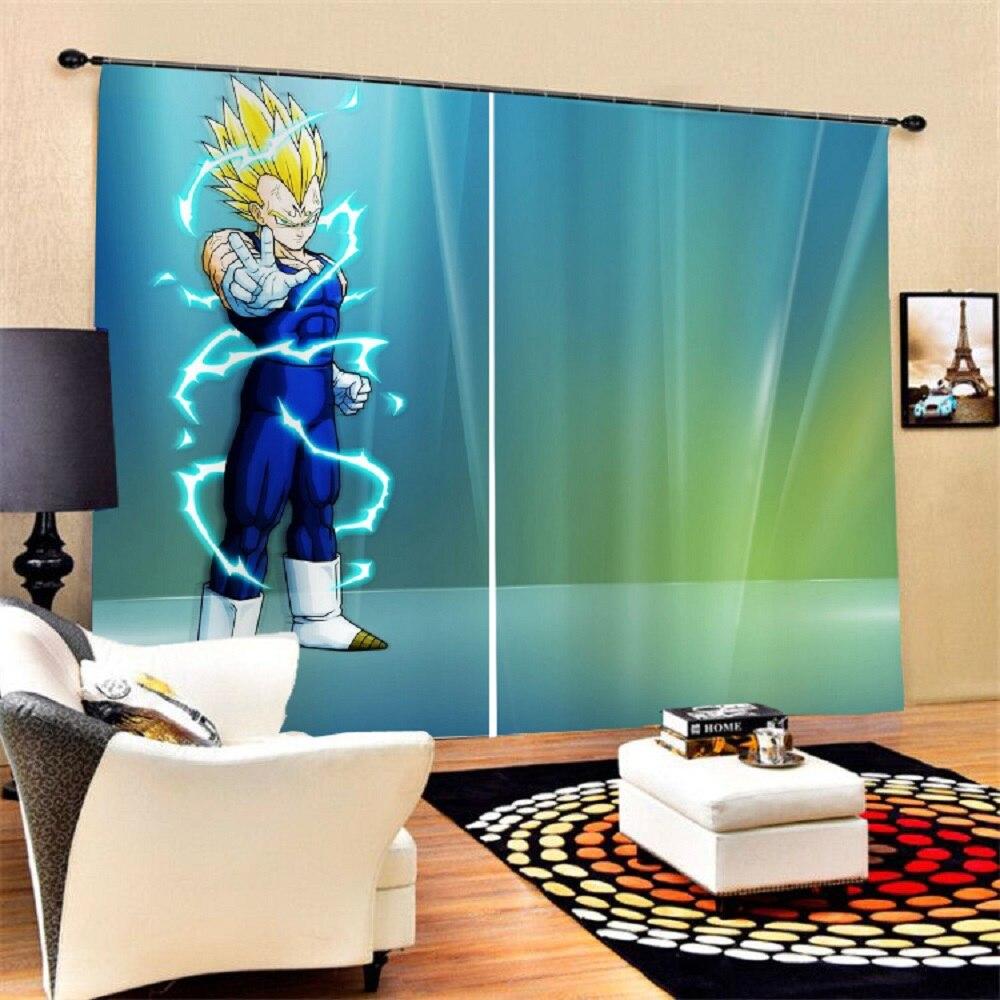 Decoración del hogar, cortinas con estampado 3D de Anime japonés para sala de estar, dormitorio, cortinas de ventana de Dragon Ball, 2 paneles, cortinas opacas