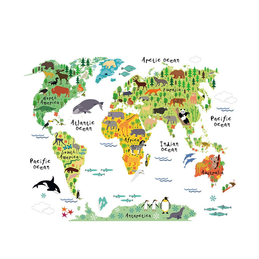 Colorful Animal World Map Wall Sticker Home Decal For Kids Baby Room Living Room Decal Mural Art Diy Wall Art