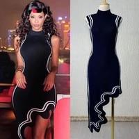 tpmaccool luxury designer evening celebrity inspired asymmetric wavy hem round neck white trim knitted sleeveless party dress