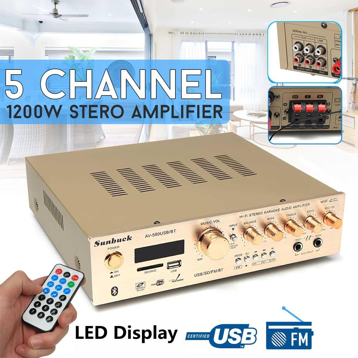 1200W Sunbuck rodean amplificador 5,0 bluetooth 5CH amplificador compatible con Radio FM USB tarjeta SD Micro Dual de Karaoke amplificadores