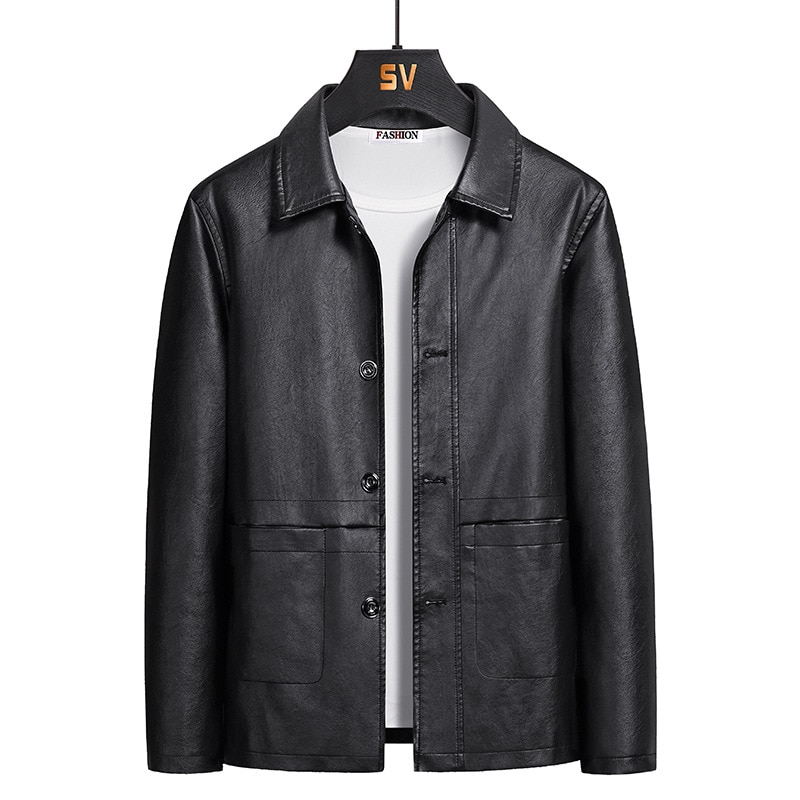 Fashion Men's Leather Jacket Autumn Simple Lapel Slim Solid Color Leather Jacket M-5XL Casual Men's