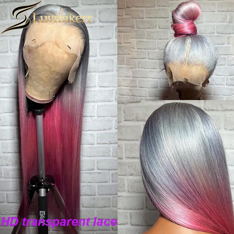 30 дюймов прямые синтетические волосы розовый 613 белый серый эффектом деграде (переход от темного к Цветной 13x6 парик шнурка Полный предварит...