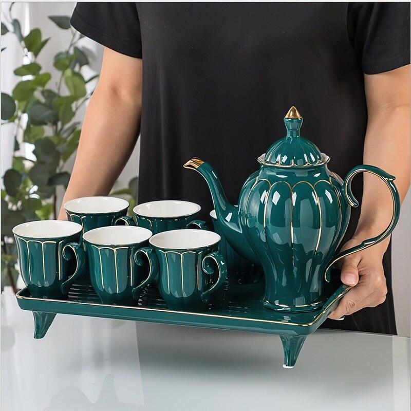 السيراميك طقم شاي القهوة المائية الشمال غلاية بنوم بنه الأخضر الأبيض وعاء صينية أكواب بار لوازم المطبخ المنزلية درينكوير