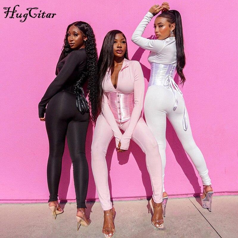 Hugcitar 2020 à manches longues combinaison pansement Corset 2 pièces ensemble automne hiver femmes Sexy fermeture éclair costume barboteuse Y2K Streetwear