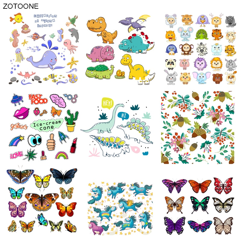 ZOTOONE милые животные Набор патч динозавр бабочка Железный На переноске одежды футболка Diy Наклейки Аппликации теплопередача G