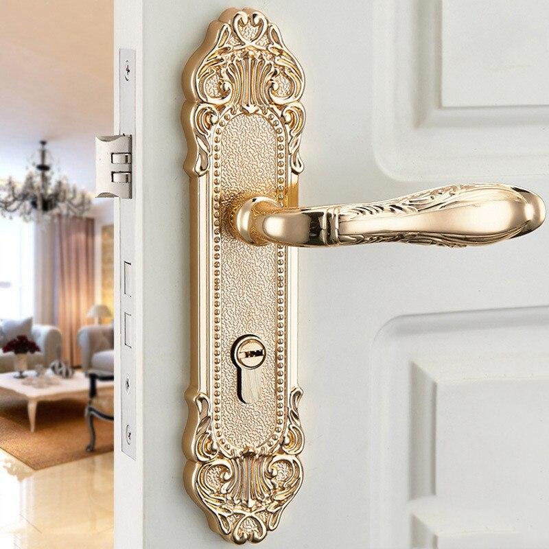 النمط الأوروبي داخلي كتم باب من سبائك الزنك قفل غرفة نوم مقبض الباب قفل الحمام مكافحة سرقة قفل الأجهزة والأثاث الأساسية