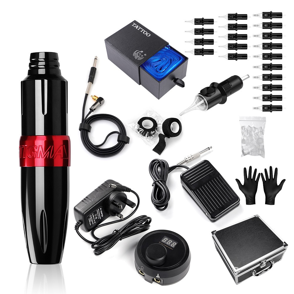 New Professional Tattoo Kit Rotary Pen Machine Set LCD Power Supply needle Set Accessories Permanent Makeup Machine Tattoo  Set ambition professional wireless battery tattoo kits permanent makeup rotary pen tattoo machine set lcd power supply