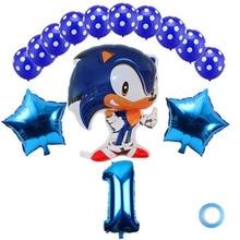 15 sztuk Sega jeż Sonic Superhero dwustronna folia balon lateksowy zestaw chłopiec dziewczyna dekoracja urodzinowa balon 32 Cal