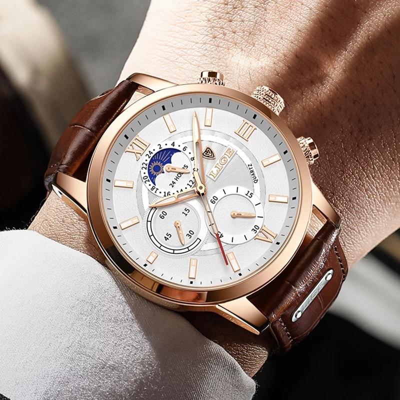 2021 LIGE Watches Mens Top Brand Luxury Clock Casual Leathe 24Hour Moon Phase Men Watch Sport Waterproof Quartz Chronograph+Box enlarge