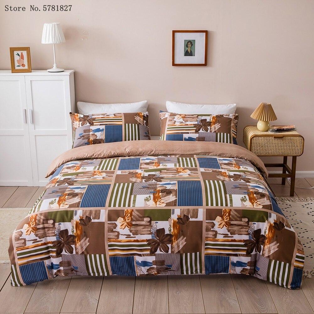 2/3 قطع المنزل الفاخرة طقم سرير ثلاثية الأبعاد طباعة الزهور حاف الغطاء واحد الملكة سرير حجم كينج مجموعة غطاء لغرفة النوم السرير غطاء لحاف