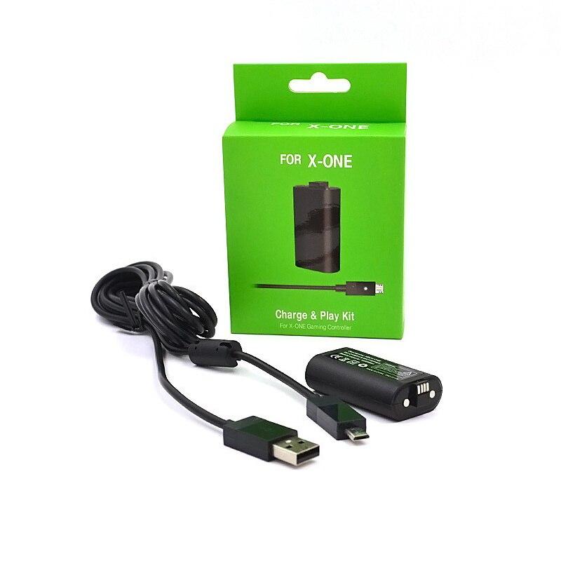 1pc 1400mah bateria recarregável com 2.75m cabo usb para xbox um controlador de jogo sem fio baterias de substituição