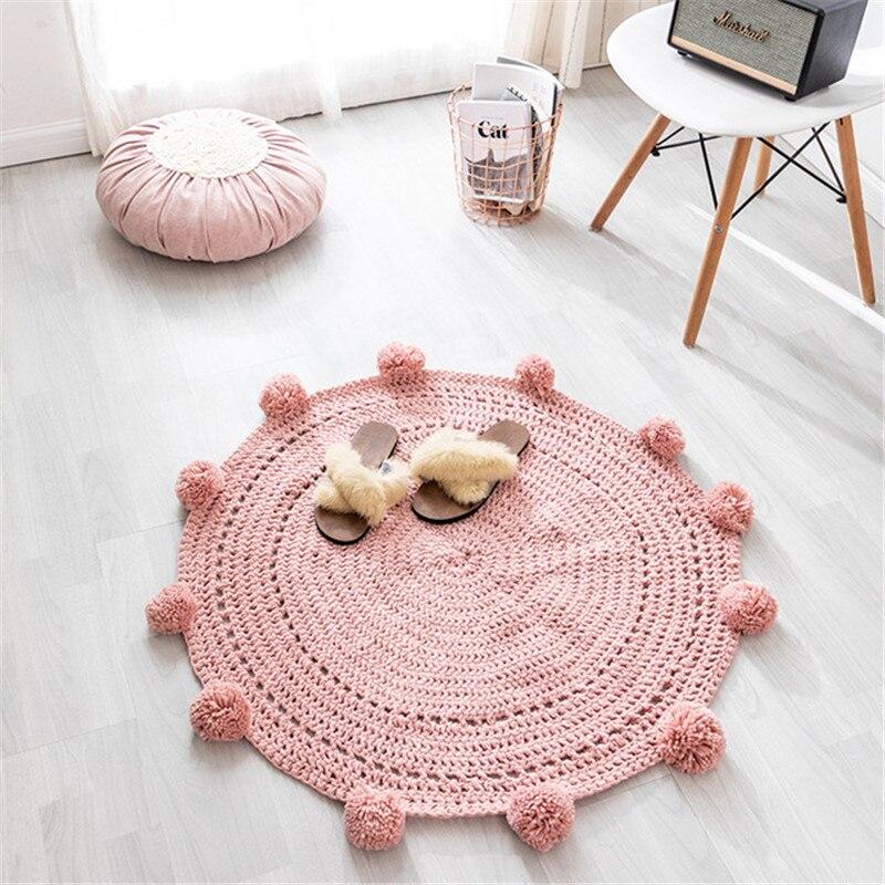 Cotton Pink Carpet Round Rug Hand Woven Pastoral Modern Round Carpet Soft Bedside Mat Nordic Style Children Kid Play Mat