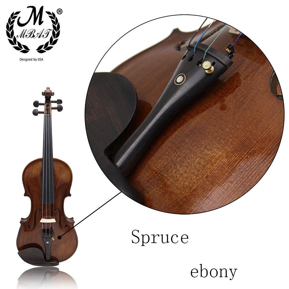 M MBAT 4/4 Violin High-Grade Maple Tiger Pattern Antique Matte Handmade Violin Free Delivery Case Bow Rosin Violin Accessories enlarge