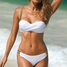 Push Up Swimsuit Women Swimwear Bandeau Bikini Set High Waist Bikini Large Size Swimsuit Female Bathing Suit Swimming Suits