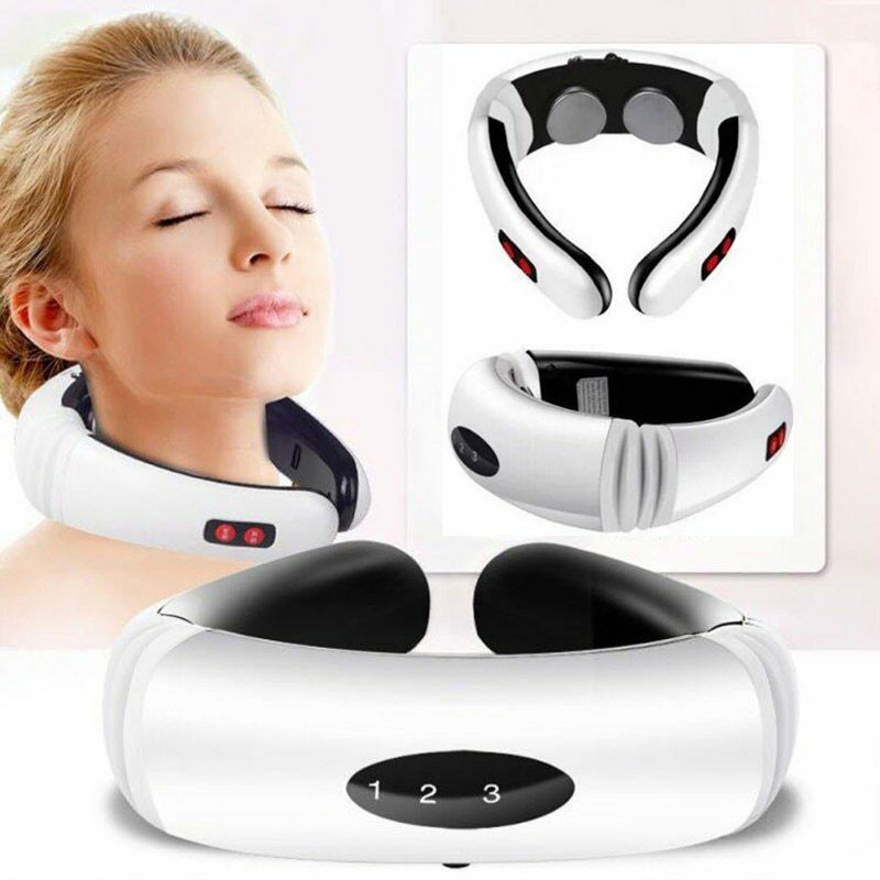 Electric Pulse Back and Neck Massager Far Infrared Heating Pain Relief Health Care Relaxation Tool I