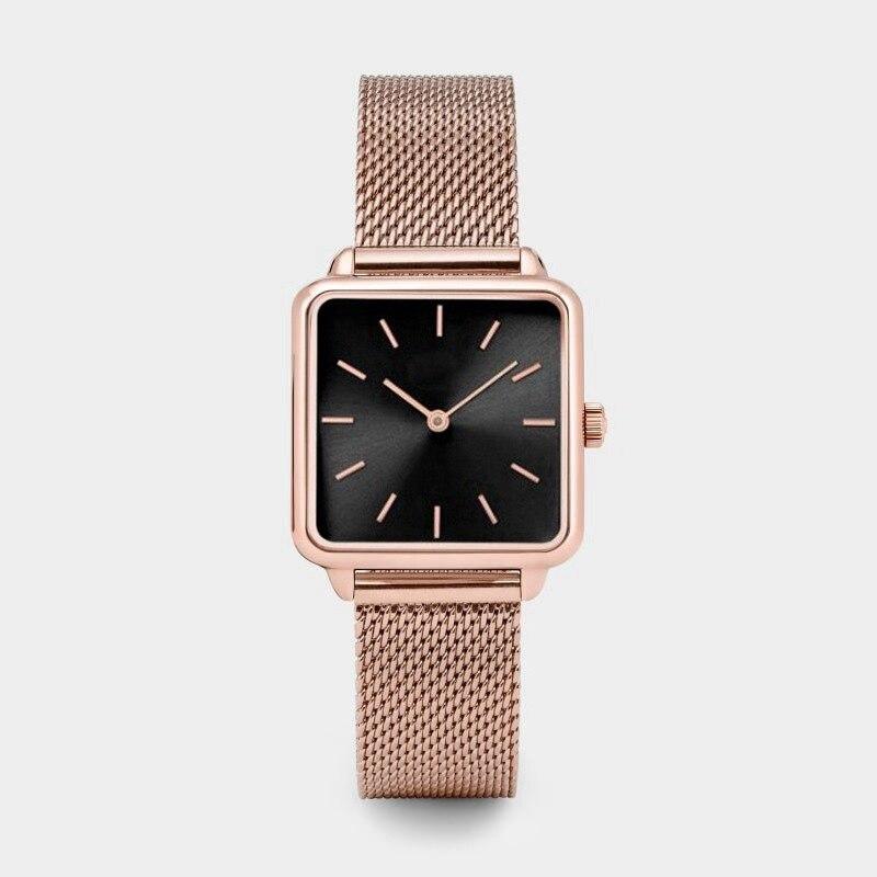 Reloj de pulsera cuadrado para mujer, lujoso reloj de pulsera dorado para mujer y niña, reloj de cuarzo a la moda, reloj de cuarzo para mujer
