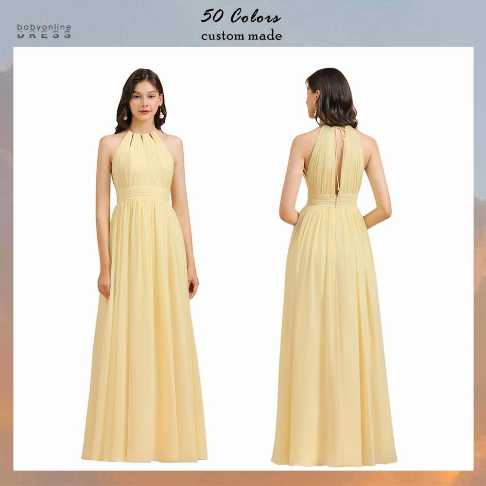 Babyonlinedress 50 Colors Sexy Split Chiffon Bridesmaid Dresses Halter Wedding Evening Dress robe de soirée de mariage недорого
