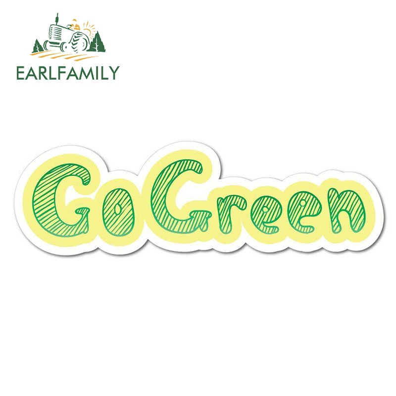 EARLFAMILY 13cm x 12.7cm for Go Green Car Stickers Simple Vinyl Decals Waterproof Car Accessories Re