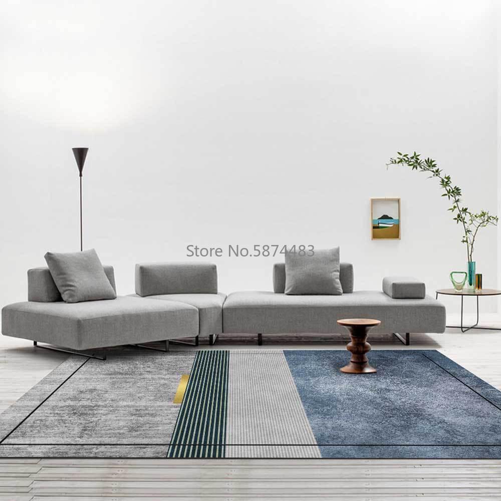 200*300 سنتيمتر الموضة الحديثة بسيطة ضوء الفاخرة القديمة رمادي أزرق هندسي غرفة المعيشة غرفة نوم السرير سجادة أرضية التخصيص