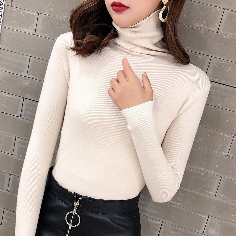 2020 New Autumn and Winter Pile Style Turtleneck Pullover Women's Slim Fit All-Match Long Sleeve Tig