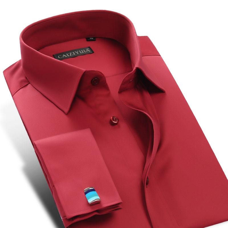 الرجال طويلة الأكمام القياسية صالح الفرنسية الكفة فستان قميص مريح السلس الرسمي مأدبة قمصان الزفاف (وشملت أزرار أكمام)