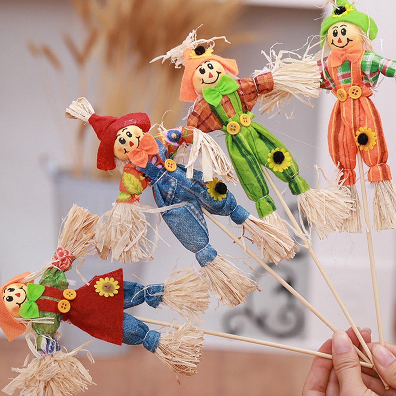 Besegad 4 piezas Halloween espantapájaros otoño cosecha bruja paja muñeca Decoración Juguetes Para el hogar Halloween fiesta estilo al azar